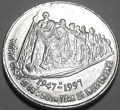 India 1997 50 Paise Unc~50th Year Of Independence~Free Shipping*