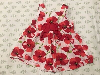 Gymboree Infant Baby Girl's Red Floral Sleeveless Party Dress Size 0-3 Months