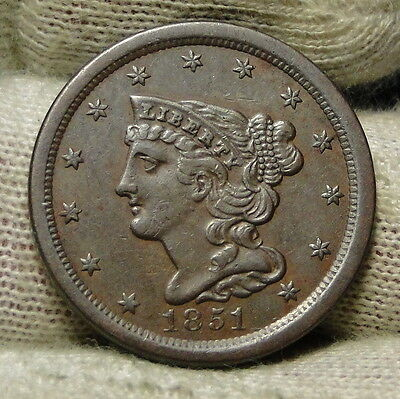 1851 Braided Hair Half Cent - Rare Only 147,672 Minted . Very Nice (6398)
