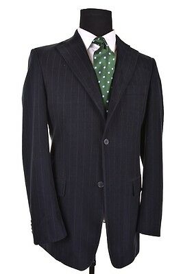 Banana Republic Dark Blue Cotton Twill Stripe Sport Coat Jacket Blazer 40R