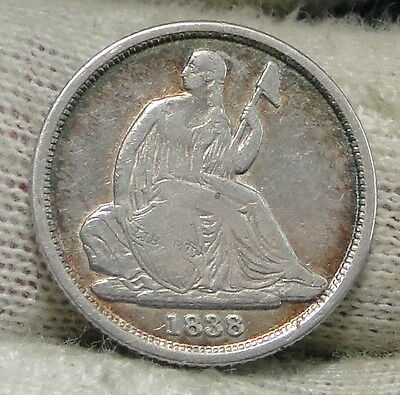 1838 O  Seated Liberty Dime 10 Cents No Stars- Nice Coin, Free Shipping (3962)