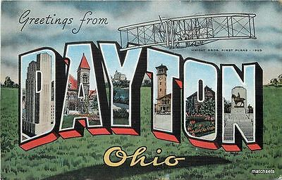 1940s DAYTON OHIO Large Letters multi View KROPP Early Aviation postcard 2852