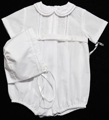 Friedknit Creations 6M Boys Embroidered White Christening Romper Outfit W/hat