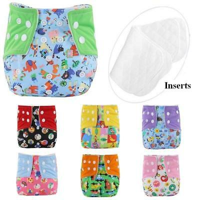 Adjustable Reusable Baby Washable Cloth Diaper Infant Cartoon Nappies Soft Cover