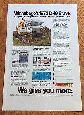 1973 Winnebago Print Ad - The D-18 Brave Motor Home At $6900