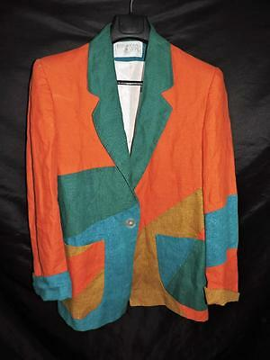 Vintage 90s M L Orange Green Blue Blazer Color Block One Button Pockets Linen