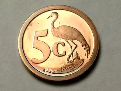 South Africa 1993 5 Cents Proof -BLUE CRANE - Free Shipping