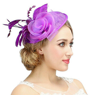 Valdler Womens Feather Mesh Net Sinamay Fascinator Hat Hair Clip Tea Party Derby