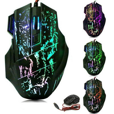 Wired Gaming Mouse 7 Button 3200 DPI LED Optical USB Wired for Computer Newest
