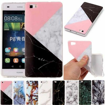 Ultra Slim Marble Pattern Soft TPU Gel Silicone Case Cover For Huawei P8 P9 Lite