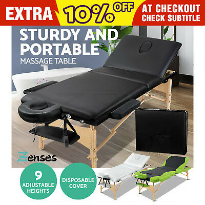 Wooden Portable Massage Table 3 Fold Beauty Therapy Bed Chair Waxing Black White