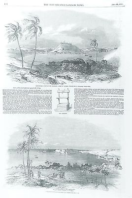 OLD ANTIQUE PRINT CUBA HAVANA HARBOUR FORT ATARES c1851 HAVANNAH ENGRAVING