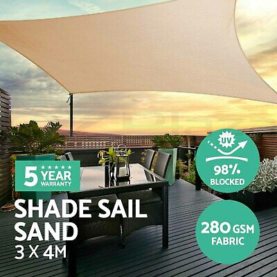 Sun Shade Sail Cloth Shadecloth Rectangle Canopy Awning Sand 280gsm 3x4m