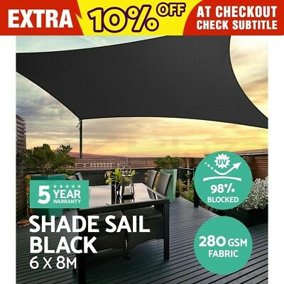 Sun Shade Sail Cloth Shadecloth Outdoor Canopy Awning Rectangle 280gsm 6x8m