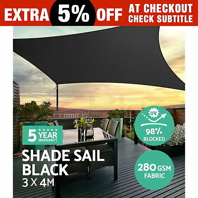 Sun Shade Sail Cloth Shadecloth Rectangle Canopy Awning Black 280gsm 3x4m