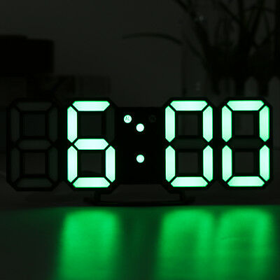 Modern Digital 3D LED Wall Desk Clock Watches 24/12 Hour Display Alarm Snooze