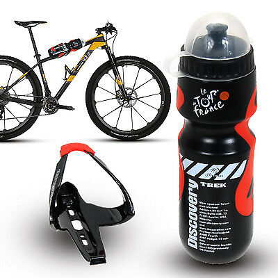 Mountain MTB Cycling Bike Bicycle Outdoor Water Drink Bottle + Holder Cage Rack