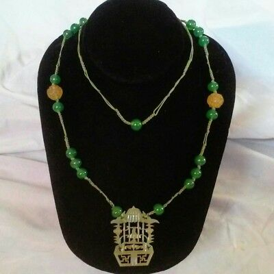 Antique Carved Jade Chinese Necklace