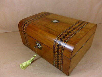 ANTIQUE VICTORIAN WALNUT  PARQUETRY DOME  JEWELLERY/SEWING  BOXC1860-1880(Cd 434