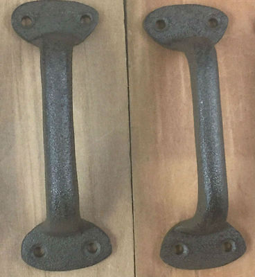 Set of 2 Cast Iron Gate Door Pull Handle Door Hardware Shed Barn Door
