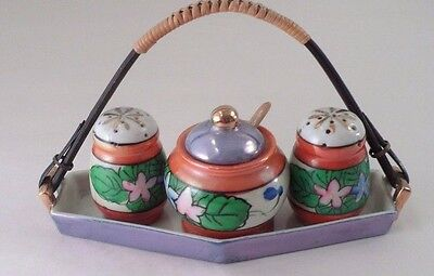 1940s Art Deco Japan Blue Orange Luster Condiment Set Tray Salt Pepper Mustard