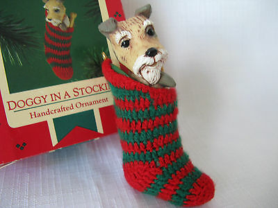 1985 Hallmark Doggy in a Stocking Terrier Dog Christmas Ornament Puppy