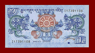 2013 Royal Monetary Authority Of Bhutan One Ngultrum Note