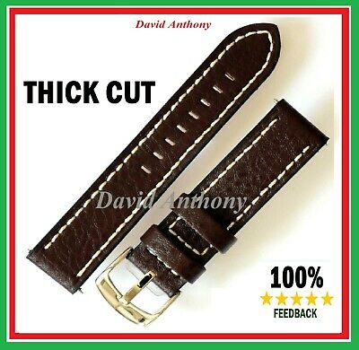 "GENTS CALF LEATHER WATCH STRAP ""THICK CUT"" BLACK or  BROWN WITH WHITE STITCHING"