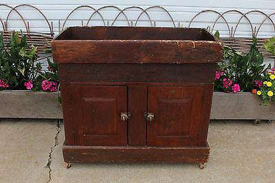 Primitive Dry Sink Cabinet w Lower 2 Paneled Door Storage Area Vintage Antique