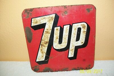 """1940's 7 Up Metal Sign 10"""" X 10 1/2""""  Embossed"""