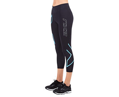 Women's 2XU ICE Mid-Rise Compression 7/8 Tights - Black/Blue
