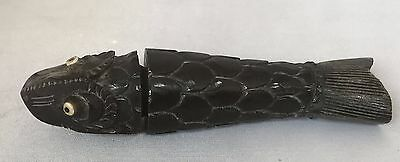 Antique Intricately Carved Horn Needle Case in the Shape of a Fish