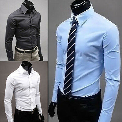 Clearance Sale!!! Mens Solid Formal Casual Business Long Sleeve Slim Fit Shirts
