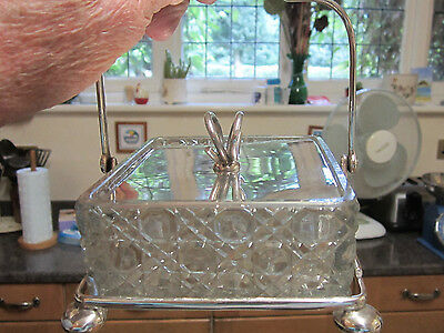 Old Victorian Breakfast Silver Plate Holder with Pressed Glass Butter Dish