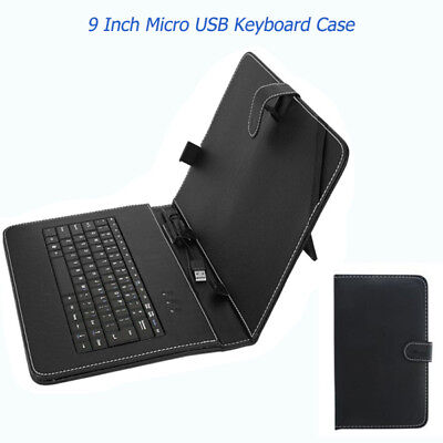 Universal Black PU Leather Micro USB Keyboard Case For 9 Inch Android Tablet PC
