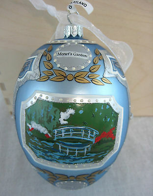 Monets Garden Large Egg Ornament Made in Poland Hand Painted Blue Silver in Box