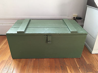 Painted antique vintage oak wood trunk chest storage, shabby chic, nice & clean