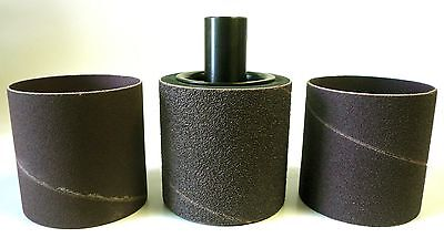 "HD 3"" x 3"" Sanding Drum + 3 Sleeves Fits 1/2"" Shaft or 1/2-20 Arbor USA New"