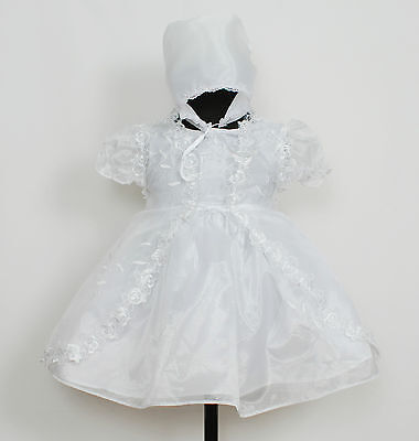 New Baby Girls Christening Gown Cape and Bonnet Newborn 0-3 3-6 6-9 9-12 Months