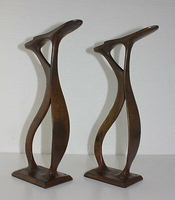 Antique PAIR Brass Tall Shoe Shine Stand Cobbler Foot Rest Mounts Great Patina