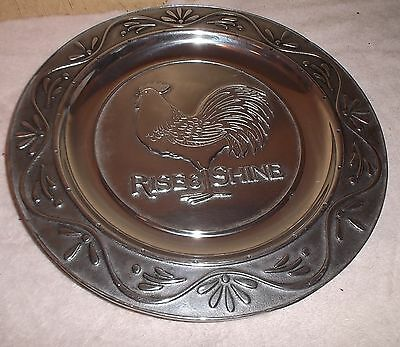 """Wilton Armetale Pewter Rise and Shine  Chanticleer Rooster Plate/Tray 12"""""""