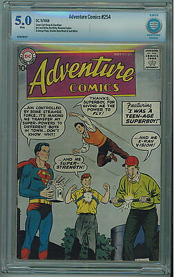 Adventure #254 Cbcs 5.0 Seldom Seen Or Sold White Pages 1958
