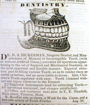 1845 Taunton MASSACHUSETTS newspaper with a large ILLUSTRATED DENTIST AD Teeth