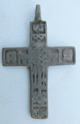 RUSSIAN 17th CENTURY ANTIQUE BRASS NECK CROSS icon