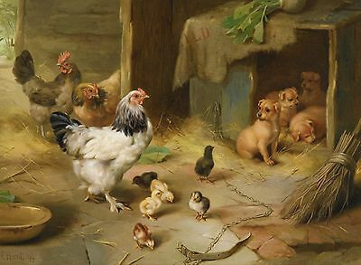 "Edgar Hunt, Chickens, Dogs, puppies, farm, Antique home decor, 14""x10"" Art print"