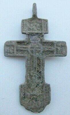 RUSSIAN 17th-18th CENTURY ANTIQUE BRASS NECK CROSS