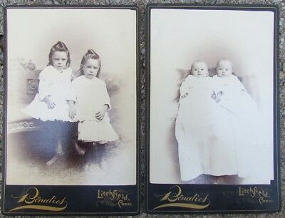 Pair Of Antique Cabinet Photos - Twins Girls