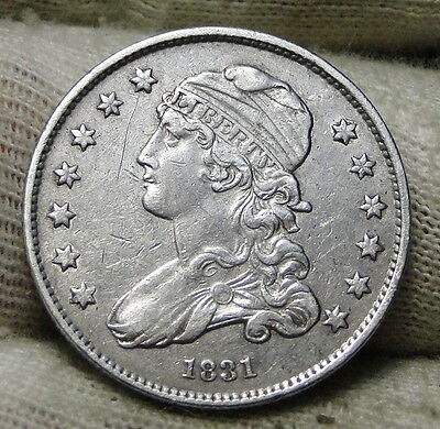 1831 Capped Bust Quarter 25 Cents -  Nice Coin, Free Shipping. (6386)