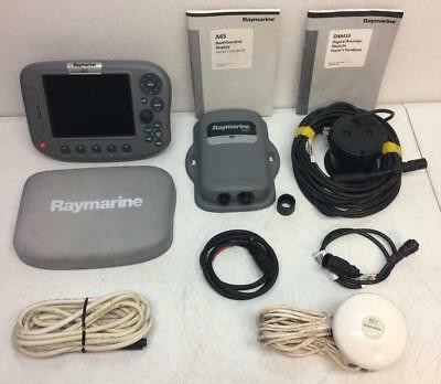 RAYMARINE A65 MFD W/ DSM25 Sounder and GPS Antenna, Complete