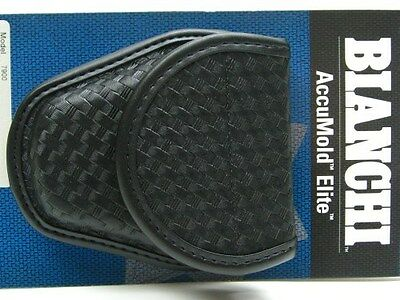 BIANCHI Black 7900 Basketweave ACCUMOLD ELITE Covered Handcuff Cuff Case! 22063